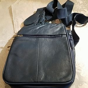 Travelon blue leather cross body bag